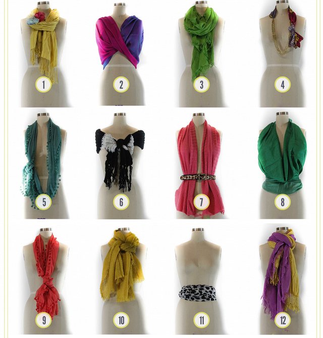 12 Ways to Tie a Scarf via Scarvesnet Different Ways Tie Scarves Women Different Ways Tie Scarves Women