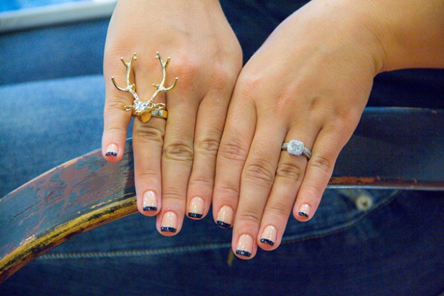 Miami Fashion Blogger Outfit Post: Bubbles & Ink, Black & Nude French Manicure, Gold Stag Ring