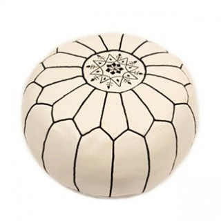 Dot and Bo Leather Pouf