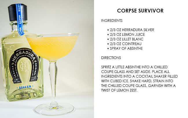 Halloween-Cocktail-Recipe-Card-Corpse-Survivor-Herradura Silver Tequila Dia De Los Muertos