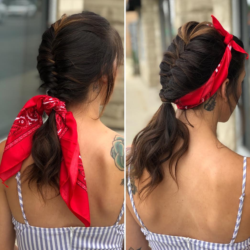 Braided Summer Hair Tutorial with Red Bandana